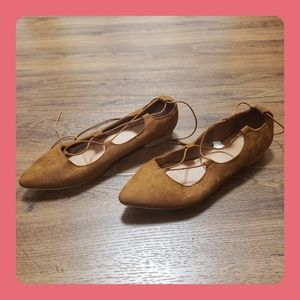 Mossimo tie around brown suede ballet flat
